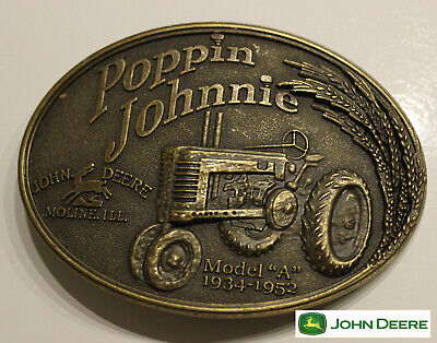John Deere Classic Tractor Belt Buckle poppin  johnnie Antique Bronze Color USA, used for sale  Shipping to India