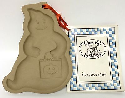 Brown Bag Cookie Art Halloween Ghost Stoneware Mold W/ Recipe Book 1990 - Halloween Biscuit Recipe