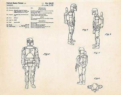 1982 Boba Fett Gift Ideas Star Wars Posters Gifts Patent Art Prints Room Decor - Star Wars Decorating Ideas