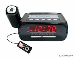 CEILING WALL PROJECTION PROJECTOR ALARM CLOCK RADIO/ iPOD MP3 AUX MUSIC JACK NEW