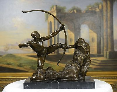 (Signed A. Bourdelle. Bronze Statue man w/ bow