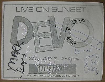 DEVO Live On Sunset @ TOWER VIDEO 1984 CONCERT Flyer AUTOGRAPHED Mothersbaugh