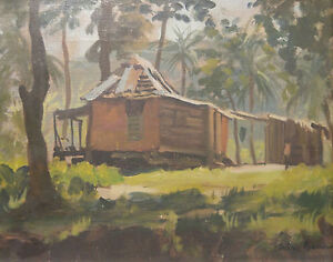 ORIGINAL-SIGNED-OIL-PAINTING-JULIAN-BARROW-FLORIDA-HOUSE