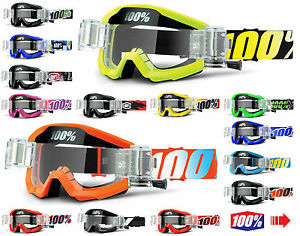 2017 100 percent strata motocross goggles with gso roll off canisters mx mtb. Black Bedroom Furniture Sets. Home Design Ideas