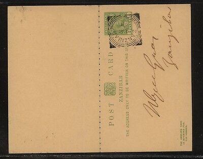 Zanzibar   postal  reply  card  , local use   1898           KL1105