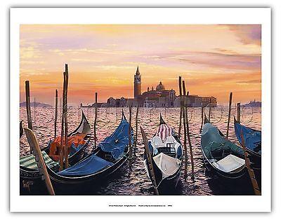 San Marco Sunset Venice Italy Vintage Original Painting Art Poster Print (San Marco Venice)