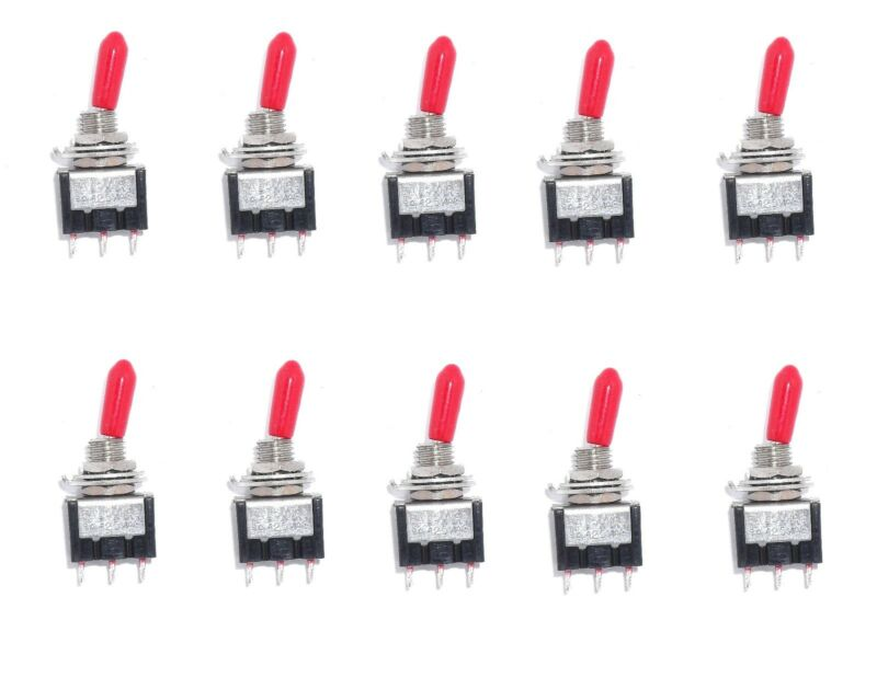 10 SPDT ON/OFF/ON Miniature Black Toggle Switch with Red Handle Cover