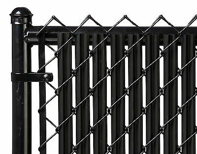 Chain Link Black Single Wall Ridged™ Privacy Slat For 7ft High Fence Bottom Lock