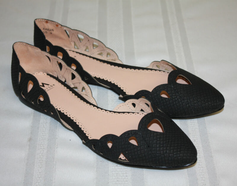 Womens Ladies Madison Shoedazzle Black Flats Shoes Size 9M