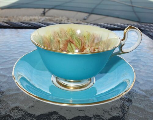 Aynsley Cup & Saucer Orchard Fruit Turquoise Blue Signed D Jones