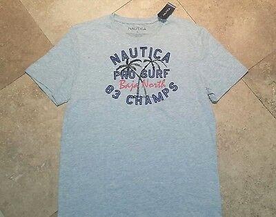 *NWT Nautica Short Sleeve Graphic Tee Shirt Cotton Blend Gray L