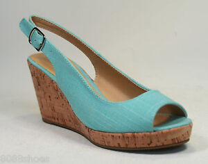 Women's Knotted Slingback Peep Toe Low Wedge Platform Sandal Shoes NEW All Size