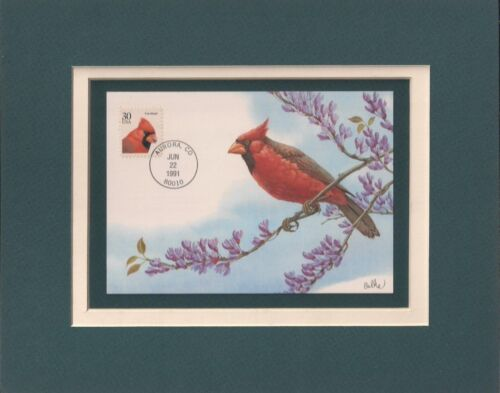 BEAUTIFUL RED CARDINAL - FRAMEABLE POSTAGE STAMP ART - 0432
