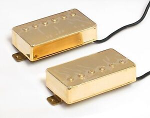 GOLD Neck & Bridge 4-LEAD HUMBUCKING Humbucker Guitar Pickup SET-  NEW OLD STOCK