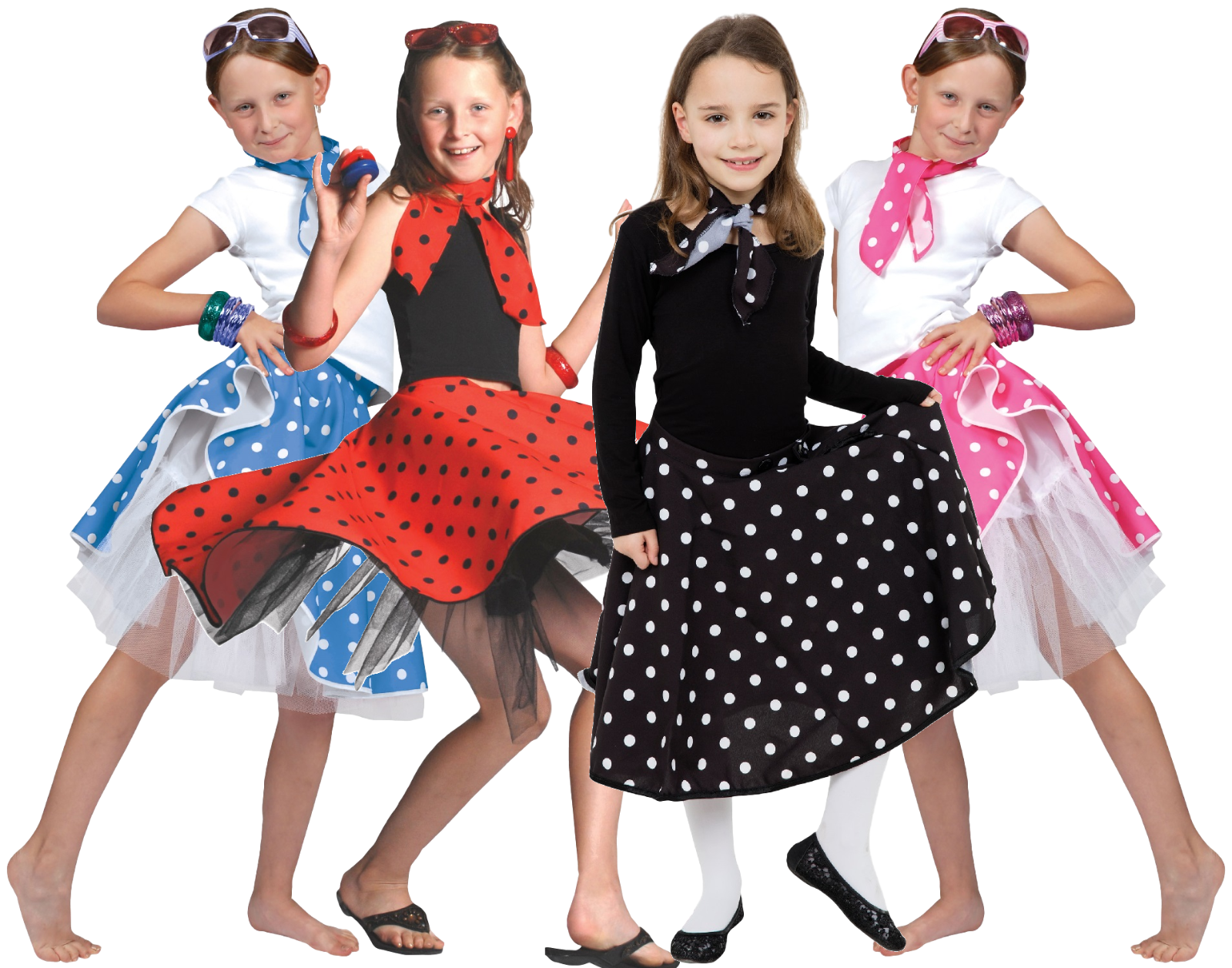 d34d0bd68e Details about Girls 50's Pink Black Red Blue Rock and Roll Skirt & Scarf  Fancy Dress Costume