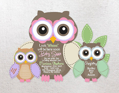 Birthday or Baby Shower Invitations Owl Personalized Custom Girl Boy Invites 40 - Owl Boy Baby Shower