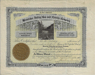 Washington 1910 Wenatchee Valley Gas   Electric Company Stock Certificate  18