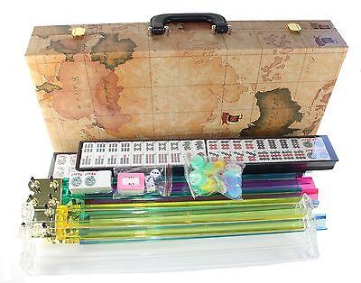 4 PUSHER + New 166 TILES American Mahjong WESTERN Mah jong Set WORLD MAP CASE