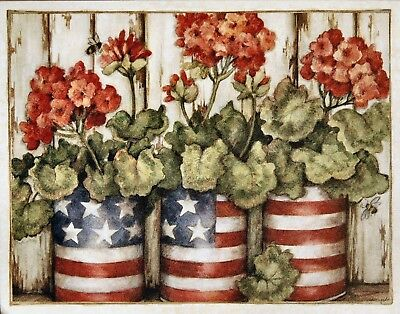 SUSAN WINGET AMERICANA GERANIUMS NOTE CARDS SET/5  FAST SHIPPING! ()