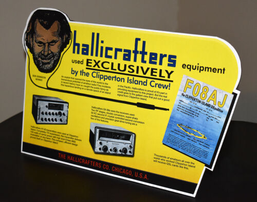 Hallicrafters Short Wave Radio Clipperton Island stand up ad sign HT-20 SX-88