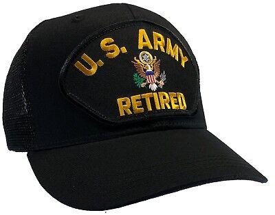 U.S. Army RETIRED Hat Black MESH BACK Ball Cap