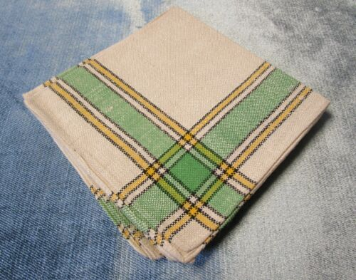 Antique 4 Linen Napkins Green Yellow & Black Plaid Never Used Farmhouse Chic!