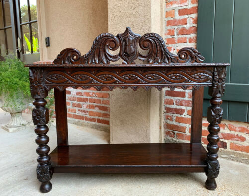 Antique English Carved Oak HALL Foyer TABLE Renaissance Sideboard Shelf Console