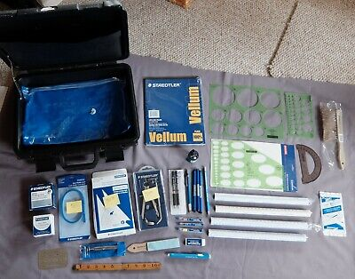 32 piece set Staedtler engineering mechanical drawing drafting tools, light use