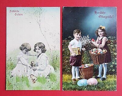 2 x Glückwunsch AK OSTERN 1909/18 Kinder mit Küken und Ostereier  ( 33635
