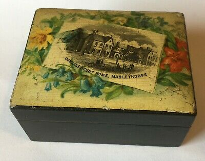 Victorian Black Lacquered Wooden Box - Convalescent Home Mablethorpe