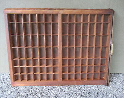 Antique Type Tray Primitive LUDLOW Printers' Drawer Shadow Box 98 Sections Hndl
