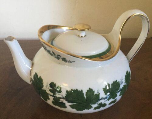 Antique German Meissen Porcelain Tea Pot Green Napoleon Ivy Gold Gilt Empire