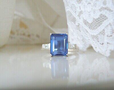 Sterling Silver 925 Ceylon Cornflower Blue Spinel Doublet Ring Size 7