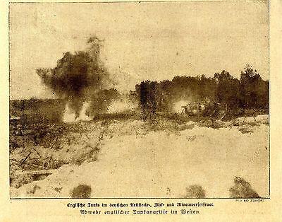 Englische Tanks im deutschem Artillerie-Flak-und Minenwerferfeuer 1918 * WW1