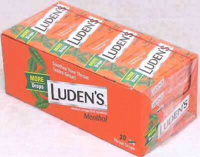Ludens Menthol Flavored Cough Throat Drops Lozenges 20 Boxes 20 Drops Per Box (Ludens Cough Drops Box)