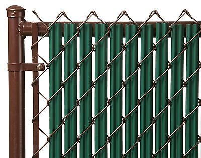 Chain Link Green Single Wall Ridged™ Privacy Slat For 4ft High Fence Bottom Lock Slats Chain Link Fences