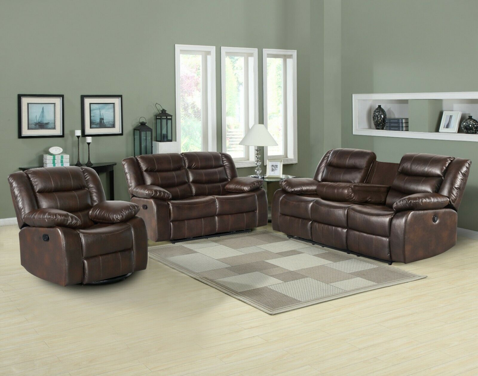 - Bernhardt Traditional Brown Leather Sofa & Chair Set For Sale