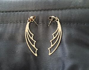 10k solid gold batwing earings