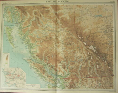 1922 LARGE ANTIQUE MAP CANADA BRITISH COLUMBIA VANCOUVER ISLAND NEW WESTMINSTER