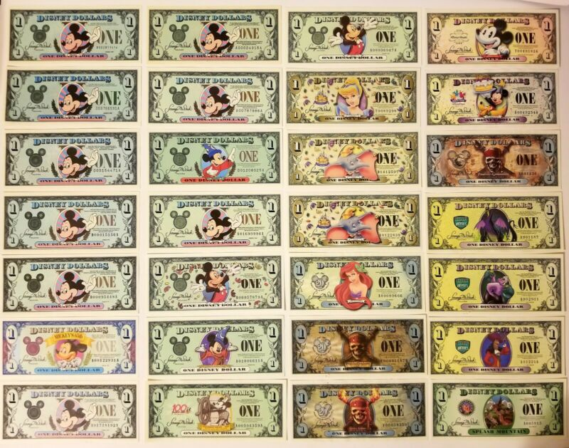 Disney Dollar Lot of 28 $1. Start your Disney Dollar Collection. 🔥📈