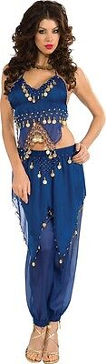 Womens Sexy Belly Dancer Costume Fancy Dress Dark Blue Gold Coins Egyptian Adult - Adult Belly Dancer Costume