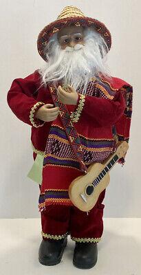 """Mariachi Mexican SANTA CLAUS with Guitar 17"""" Tall"""