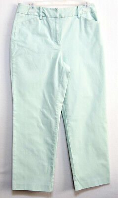 Talbots Ladies Light Green Cotton Lycra Cropped Pants- Size 8