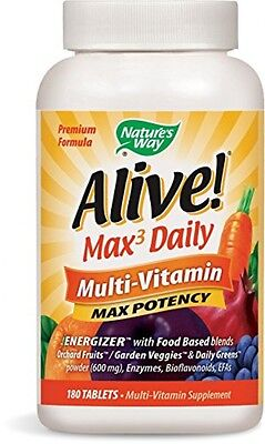 Natures Way Alive Max Potency Multivitamin Tablets  180 Count