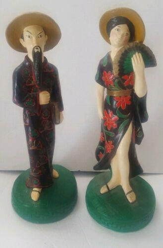Tuscany Studios China Man & China Woman Oriental Asian Chalkware Statues 1973