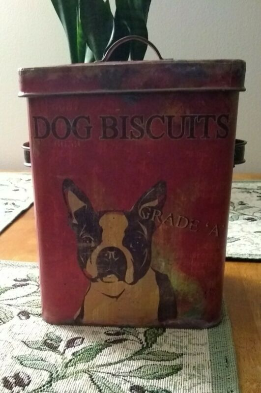 Boston Terrier Dog Biscuits Tin / Container  Rustic Look New