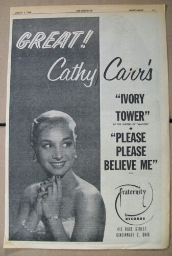 Cathy Carr 1956 Ad- Ivory Tower/Please Please Believe Me  Fraternity