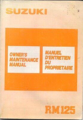 Suzuki RM125 original Owners Maintenance Manual 1988 No. 99011