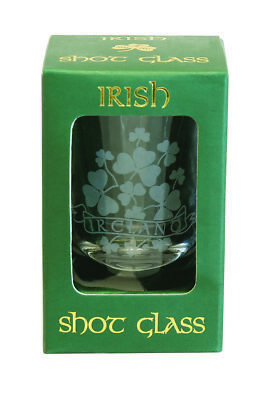 Crystal Shot Glass Sprig Shamrock Frosted etching Comes in festive green box