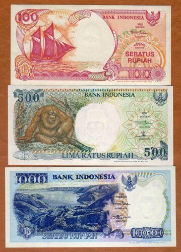 SET Indonesia, 100-500-1000 Rupiah, 1992, P-127-128-129 UNC